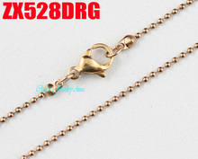 rose golden color 1.2mm ball chain with lobster clasp stainless steel necklace beads chains fashion jewelry 20pcs ZX528DRG