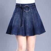 New stylish Korean Fashion slim thin Fold denim skirts Defence Wardrobe Malfunction large size Cowboy mini Skirts with belt k07