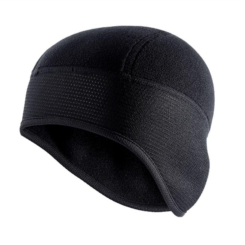 Unisex Winter Cycling Cap Windproof Warm Polar Fleece Thermal Helmet Liner Beanies Hat Solid Color Hiking Skiing Ear Warmer