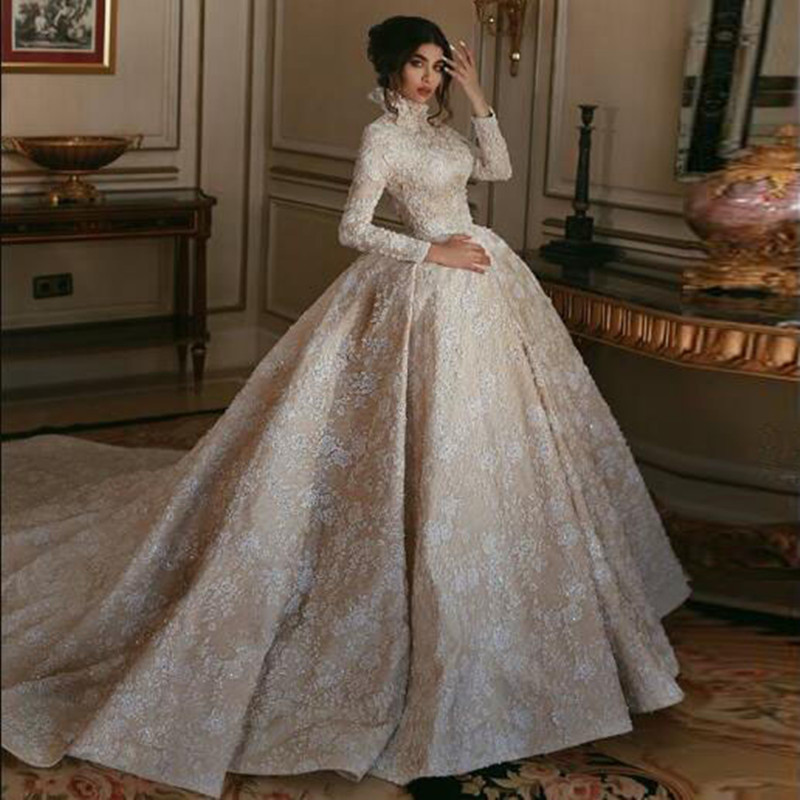 Elegant Long Sleeve Wedding Gowns: Hot Sale Dubai Appliques Ball Gown Wedding Formal Dresses