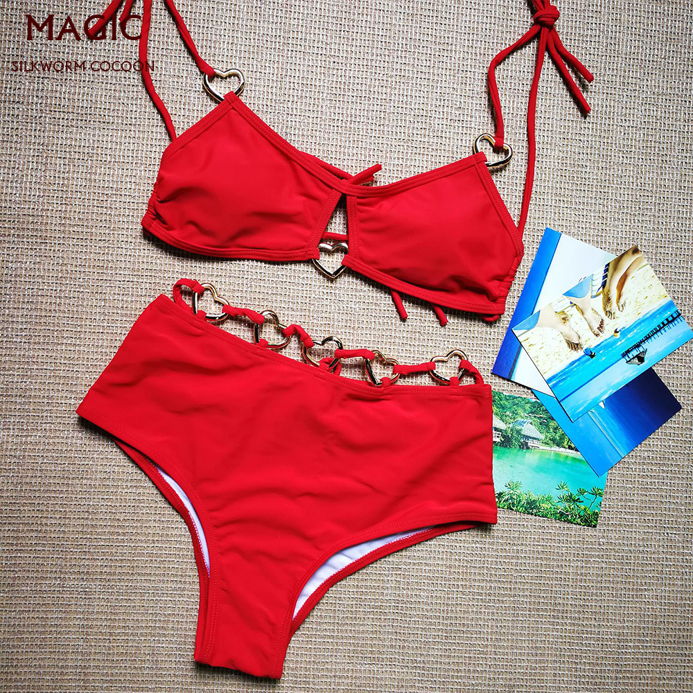 Solid Color Swimsuit Women High Waist Bikini Set Heart-shaped Ring Stitching Bathing Suit Sexy Two-piece Suit Push Up Bathers