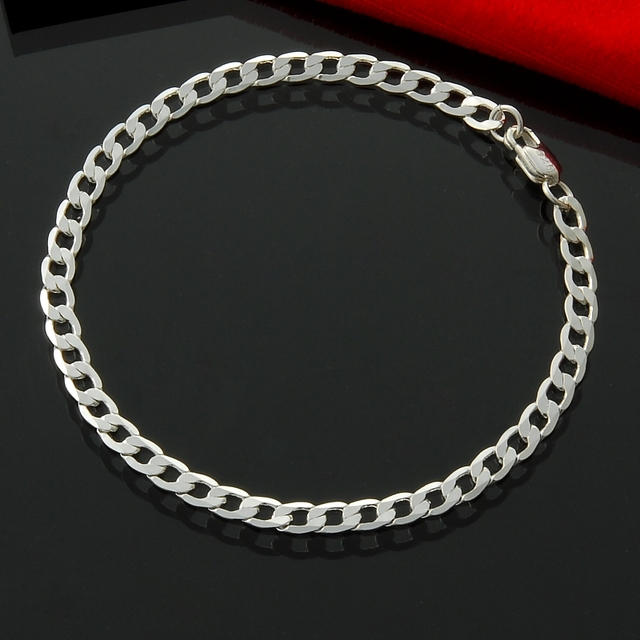 14a1e3837f38bb 4MM chain women jewelry bracelet,men's jewelry silver plated Bracelet,Factory  Price hot sale women Bracelet Chain