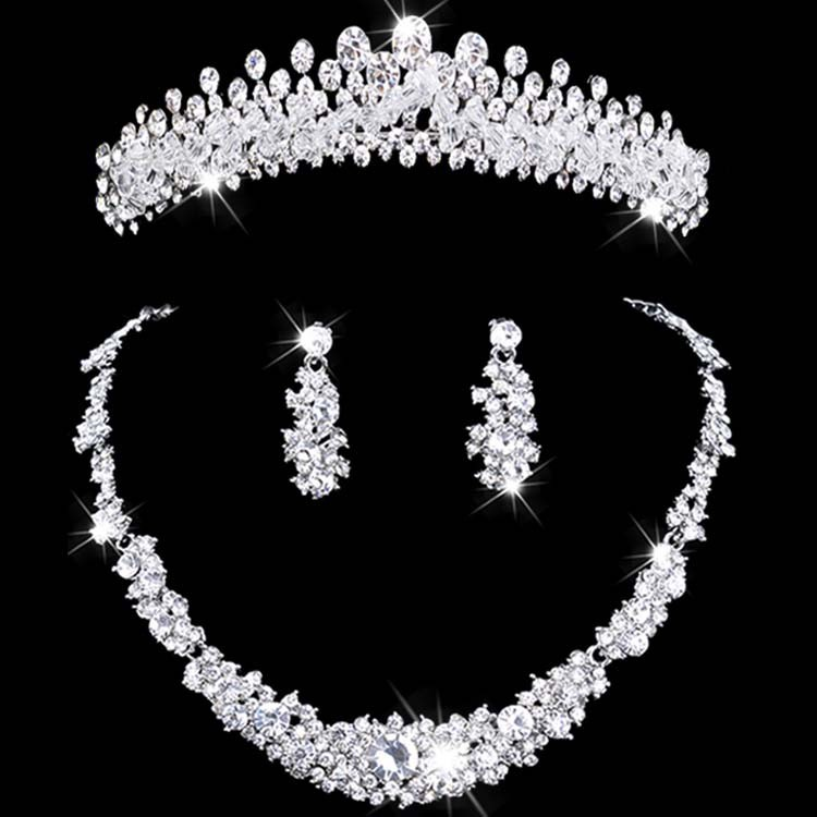 Bridal jewelry tiara necklace and earring set crown tiara for Where to buy wedding accessories