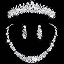 Свадебные украшения Тиара ожерелье и серьги набор корона тиара горный хрусталь Свадебные Аксессуары свадебные украшения кристалл