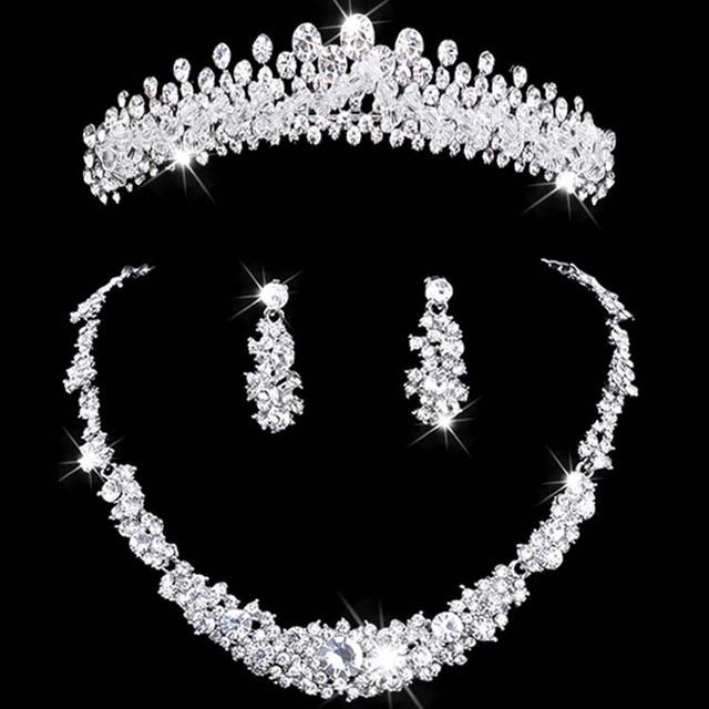 bridal jewelry tiara necklace and earring set Crown Tiara Rhinestone Wedding Acc