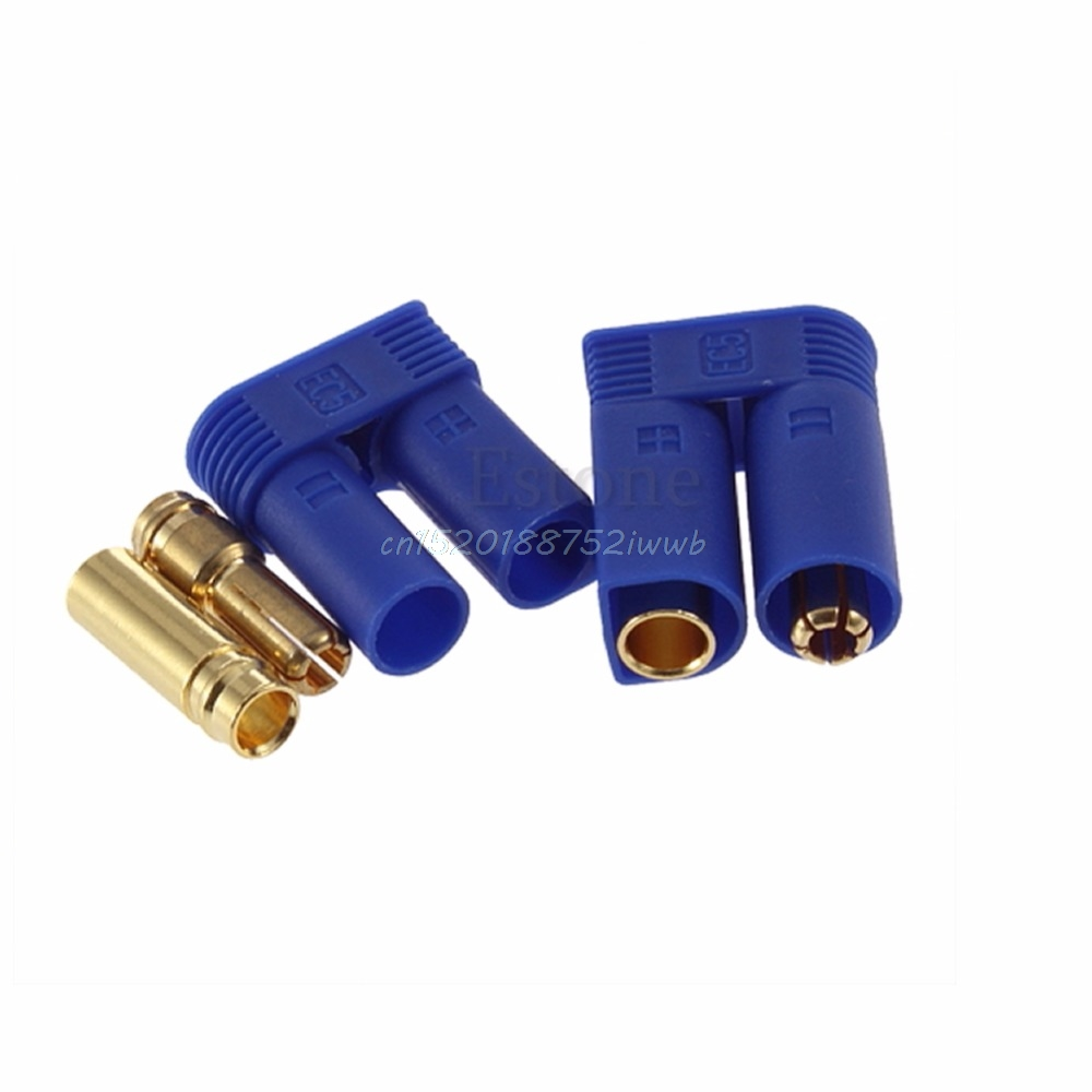 1 Pair EC5 Bullet Connectors Plugs Adapters Male / Female Losi Style 5mm  #T026# 75ohm coaxial female connectors plugs 5 pcs
