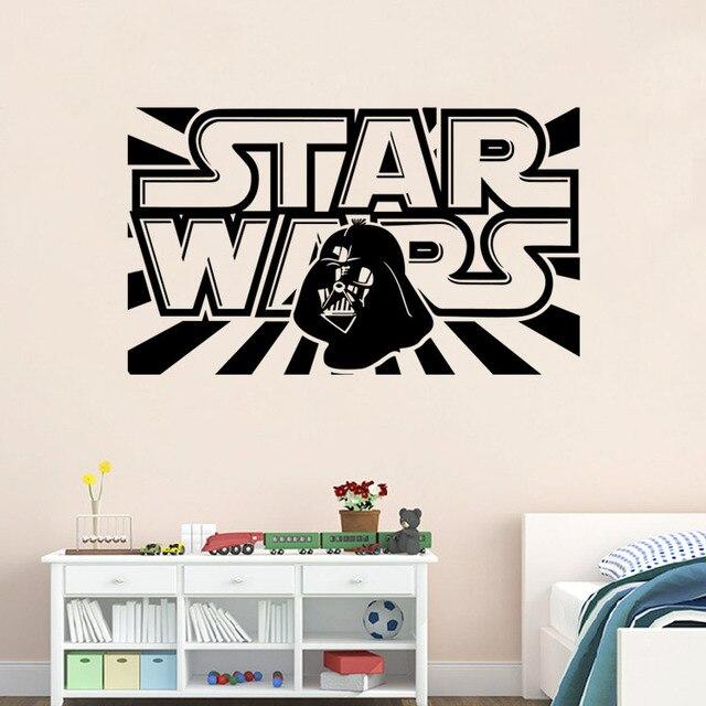 Star Wars Wall Decal with Darth Vader Vinyl Sticker Boys Bedroom ...