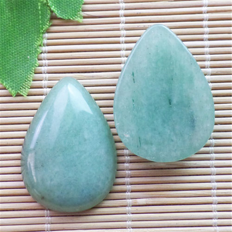 (2 pieces/lot) Wholesale Natural Green Aventurine Teardrop CAB CABOCHON 31x23x6mm Free Shipping Fashion Jewelry ZY3431