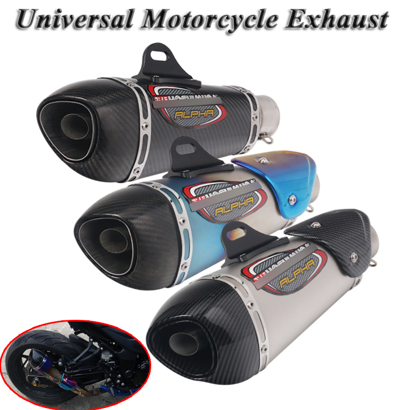 Universal Motorcycle Yoshimura Exhaust Pipe Escape Modified Carbon Muffler DB Killer Silencer For Ninja 400 GSXR600 K6 KTM R15-in Exhaust & Exhaust Systems from Automobiles & Motorcycles