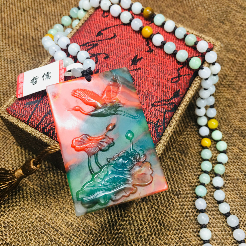 New natural JADESt pendant carved colorful stone red crane lotus pendant with three colored beads chain sweater chainNew natural JADESt pendant carved colorful stone red crane lotus pendant with three colored beads chain sweater chain