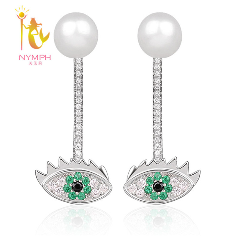 NYMPH Pearl Earrings Silver Shining Fine Jewelry Trendy For Women White Trendy Birthday Gift Big Eye 8-9mm E123 elixa e123 l504