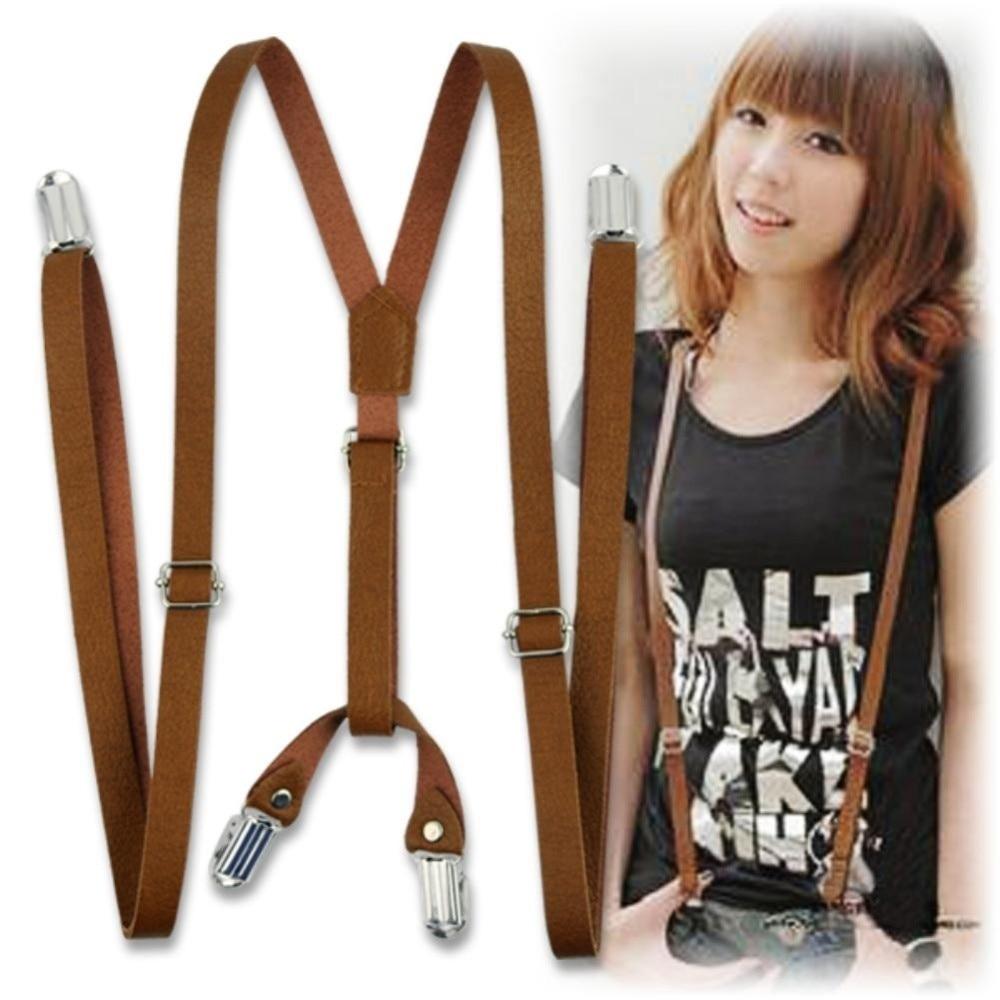 Unisex Adjustable Braces Adult Suspenders Clip-On Tirantes Hombre Leather Pants Y-shaped Braces Suspenders