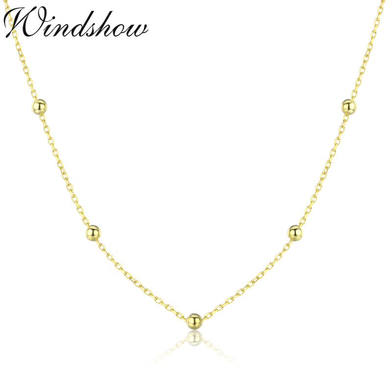 35cm-90cm 925 Sterling Silver Gold Color Cross Beaded Chain Choker Necklaces Women Girls Jewelry Kolye Collares Collane Ketting
