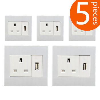 5 pieces 86 type UK standard  wall power outlet with USB  socket 250V 13A  CR-DS