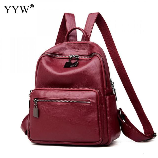 57148cbedabb Laptop Backpack Women Leather Backpack Small Exquisite Travel Backpacks  Notebook School Back Bags For Teenager Mochilas