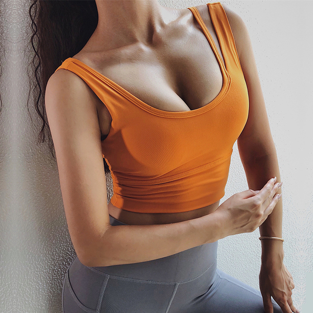 a0297362c8 One F Sports Wear For Women Gym High Impact Support Orange Crop Top  Shockproof Racerback Tank Top Pink Fitness Sport Bra