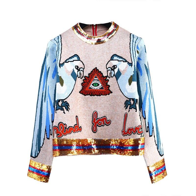 Chandails à tricoter à paillettes à la mode, perroquet, Jacquard, manches longues, col rond, femmes, pull, Streetwear