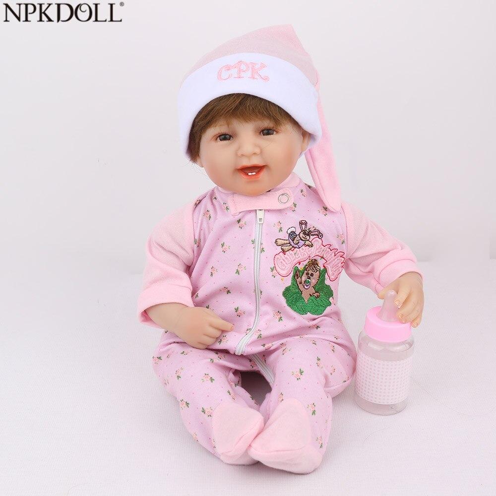 NPKDOLL Reborn poupées 16 pouces doux Silicone poupée bébé Mini jouets pour fille enfants vivant bébé Promotion maternelle jouets