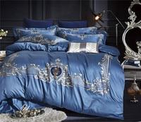 Роскошное 60 S постельное белье из египетского хлопка с вышивкой, синее шелковое постельное белье, набор/покрывало Королевское одеяло, подод