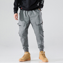 Side Pockets Harem Pants Men Grey Cargo Pants Casual Male Elastic Waist High Quality Joggers Ripped  Joggers Hip Hop Sweatpants grey causal two side pockets hoodie