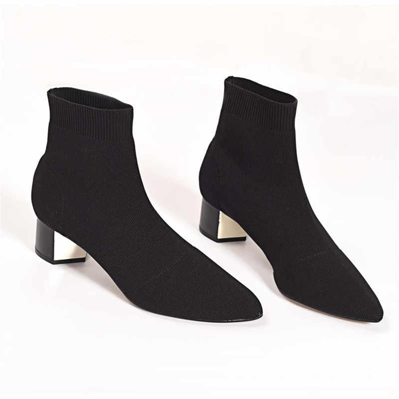 Prova Perfetto 2019 Yeni Kadın Örme Elastik Çorap 4CM Tıknaz Topuk kısa çizmeler Bayanlar Sivri Burun yarım çizmeler Botas Mujer
