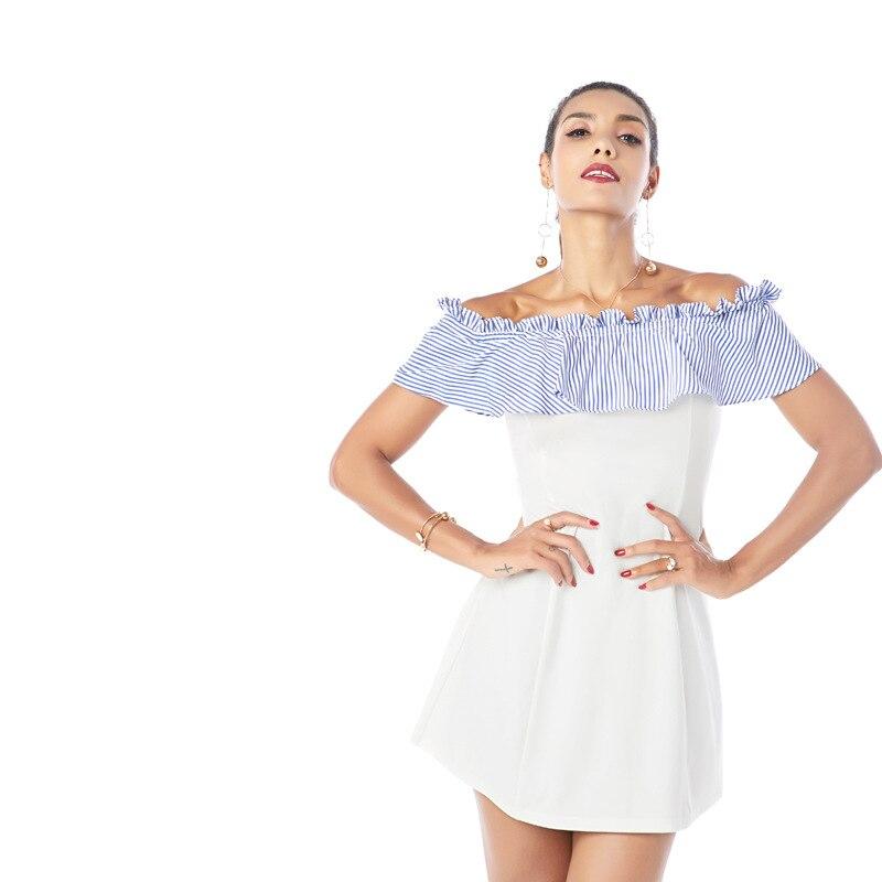 Stripe OL Women summer Dress 2018 Elegant Short sleeve Women white Midi summer Dress Fashion Empire Off Shoulder Work Dress