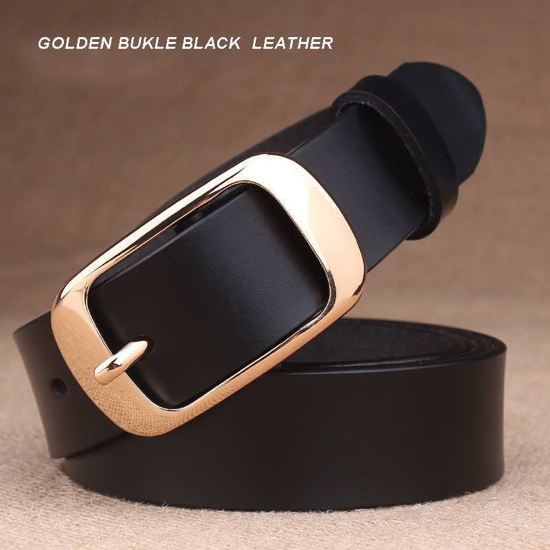 GOLDEN BUKLE BLACK  LEATHER