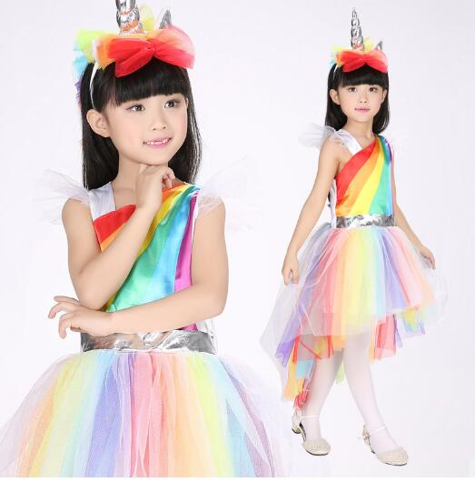 Unique girls deluxe rainbow Unicorn costume is great for Halloween and Casual dress with lace