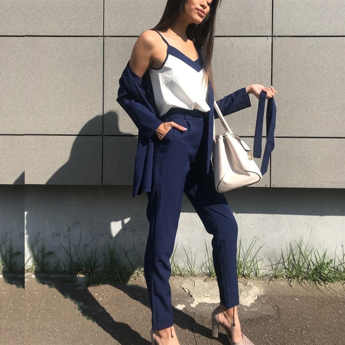 Taotrees Pants Suit V Neck Buttonless Bracelet Sleeves Blazer Jacket &Strap Vest &Full Length Pant 3 Piece Set OL Style