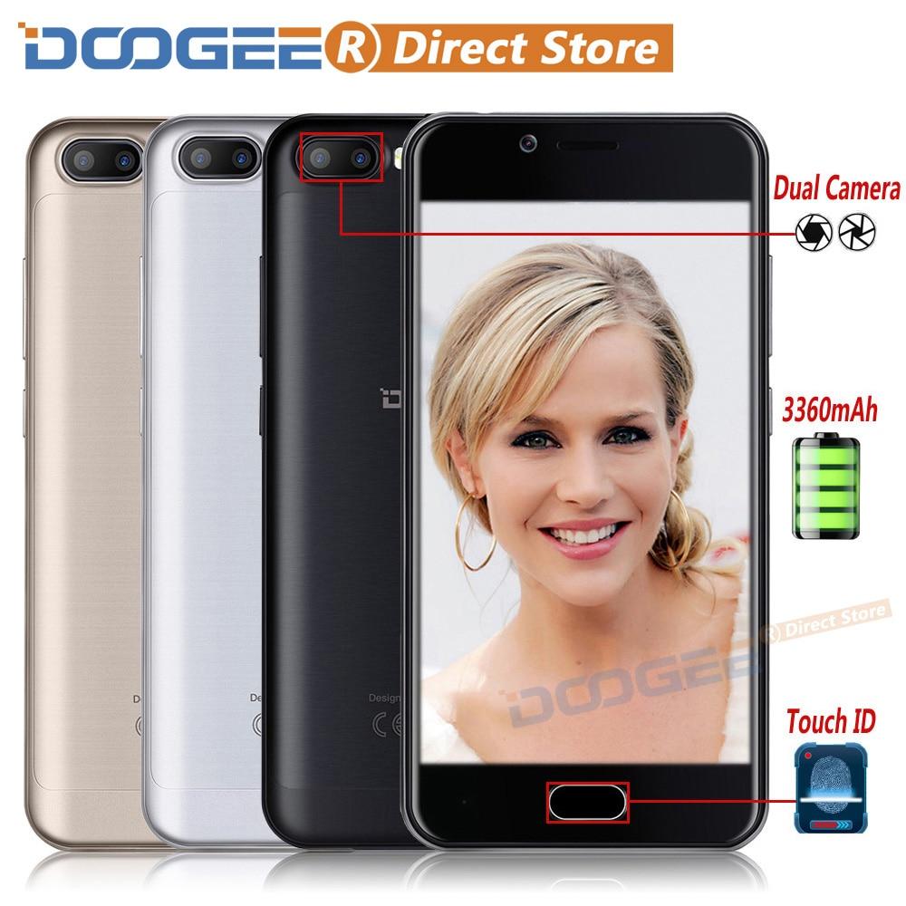 "bilder für DOOGEE SCHIEßEN 2 Fingerprint 3360 mAh Android 7.0 Smartphone 5,0 ""HD MTK6580A Quad Core 1,3 GHz Handy 1 GB + 8 GB 5MP Handy"