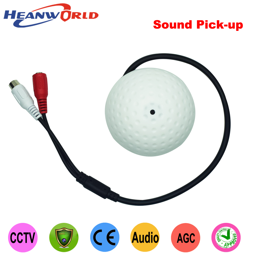 Heanworld high fidelity low noise chip camera Sound pick-up, Round Mic/microphone speaker Monitor for CCTV Security camera 4pcs lot surveillance rca cctv mic microphone sound monitor sound pick up audio voice pick up device for security camera
