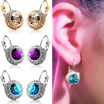 Elegant and temperament summer style full rhinestone Moon River crystal earring Austria (pair) earrings Ohrringe