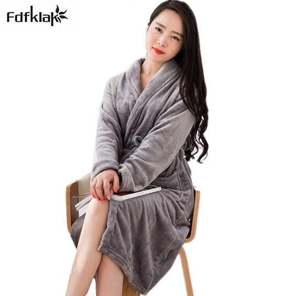 28a66214be New arrival thickening warm flannel women robe long sleeve autumn winter  sleepwear robes female bathrobes night
