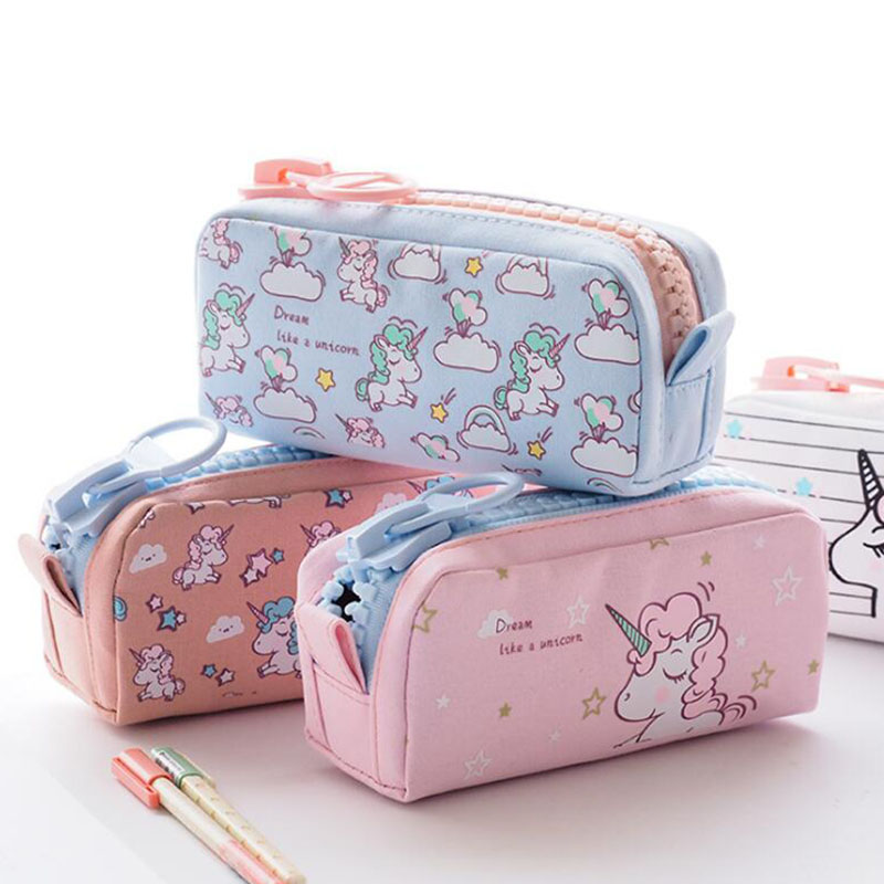 Cartoon Unicorn Pencil Case Big capacity Canvas School Pen Bag Storage Pouch School Supplies Stationery gift Estuches big capacity high quality canvas shark double layers pen pencil holder makeup case bag for school student with combination coded lock
