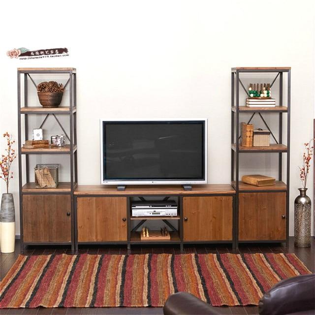 American Retro, Die Alten Schmiedeeisernen Möbel Wohnzimmer Tv Möbel Regale  Kombination Von Massivholz Schließfächer