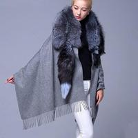 2018 New arrival Whole Skin Real Silver Fox Fur Scarf Collar Shawls And Scarves Cashmere Poncho Women Winter Pashmina