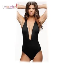 2016 Red Halter Bodysuit Sexy Deep V Neck High Cut 1 One Piece Swimsuit Backless Swimwear Women Bathing suit Beachwear Monokini