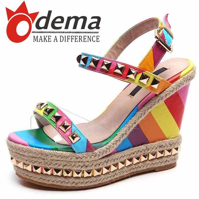 972a4ec88f91 Boho Fashion Women Colorful Wedges Sandals One-buckle Belt Rivets Rainbow  Shoes Casual Women s Shoes