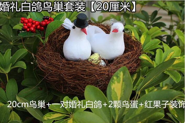 Free shippping,Pure hand - woven rattan nest suite garden decoration garden simulation simulation bird s nest camera props