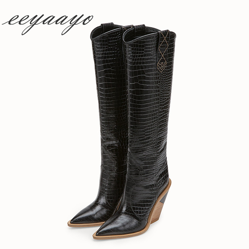 2018 New Autumn genuine leather Knee-high women boots High Wedge Heel Pointed Toe Sexy Ladies Women Cow Leather Shoes High Boots2018 New Autumn genuine leather Knee-high women boots High Wedge Heel Pointed Toe Sexy Ladies Women Cow Leather Shoes High Boots