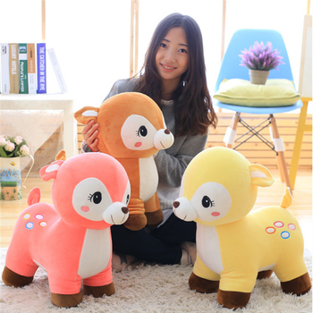 Fancytrader 60cm New Lovely Giant Soft Animal Sika Deer Plush Toy 24'' Big Stuffed Cartoon Deer Doll Pillow Baby Present