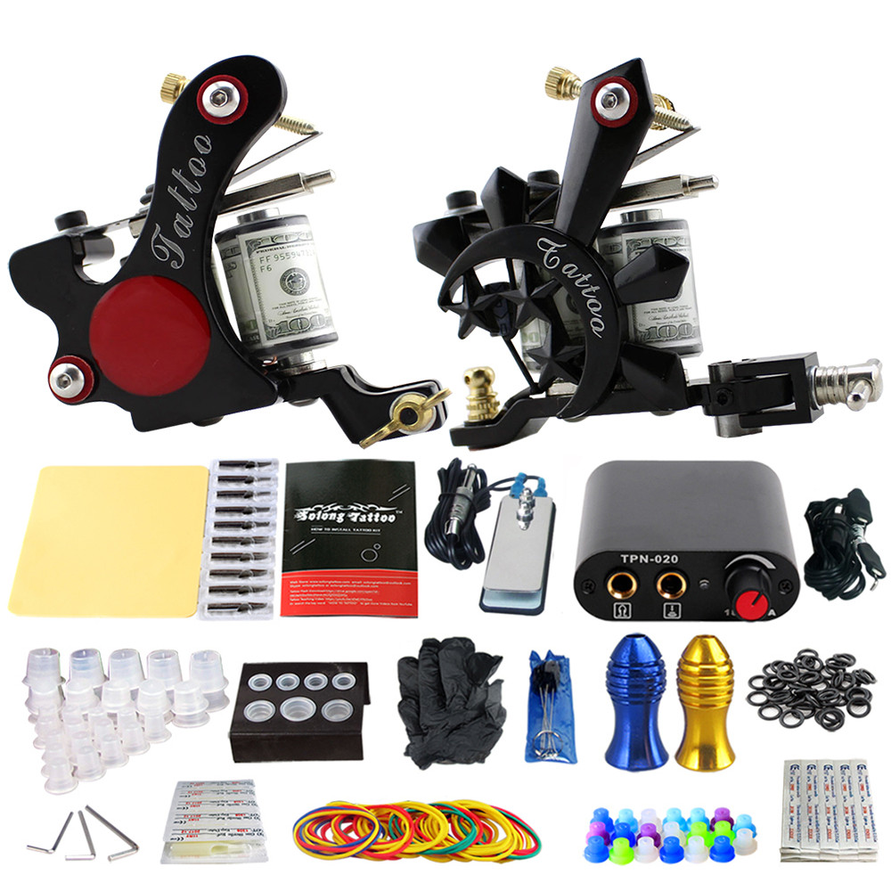 Solong Tattoo Complete 2 Coil Tattoo Machine Kit Power Supply Foot Pedal Switch Needles Set TK201-8 solong tattoo professional power supply tattoo black tattoo digital lcd design stable dual machine foot switch pedal cast iron