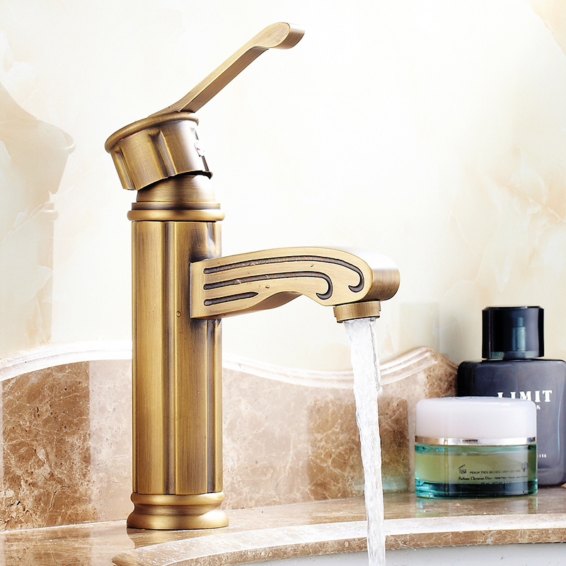 Newly Solid Brass Antique Brass Bathroom Basin Faucet Sink Mixer Tap Vintage Style Tap Single Handle Single Hole Deck Mounted ulgksd basin sink faucet deck mounted mixer tap antique brass single handle bathroom faucet