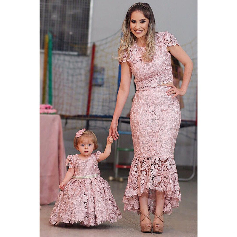 Cheap Blush Lace Mother And Daughter Dresses Evening Wear Jewel Neck Mermaid Prom Gowns With Cap Sleeves Two Pieces Formal Dres