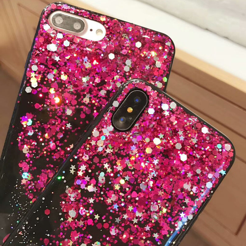 UVR Beautiful Purple Meteor Shower Rain glue paillette Lady Goddess Case Cover Funda Coque Carcasa for iPhone X 6 6S 7 8 Plus