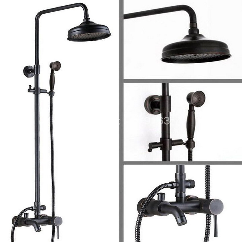 Bathroom Rainfall Shower System Faucet Set Black Oil Rubbed Bronze Tub Mixer tap Telephone Style Handheld Shower Head ars044 deck mounted black oil rubbed bronze telephone style ceramic handheld shower bathroom tub faucet dual handles mixer taps wtf514