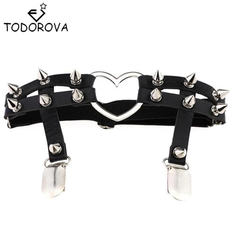 Todorova Gótikus Harajuku Szexi Szív Punk Szegecs lábnyak nyaklánc nők számára Harajuku Pasztell Goth kábelköteg Bőr harisnyatartó harisnya
