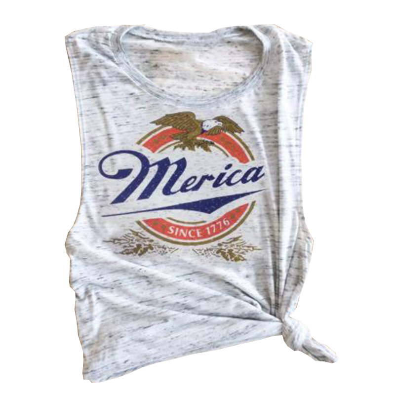 1c7408e455 Aliexpress.com : Buy Merica Since 1776 Choker Neck Muscle Tee Raw Edge  Armholes Vintage Concert Vest Beer Petite 4th July Memorial Day Star  Spangled ...