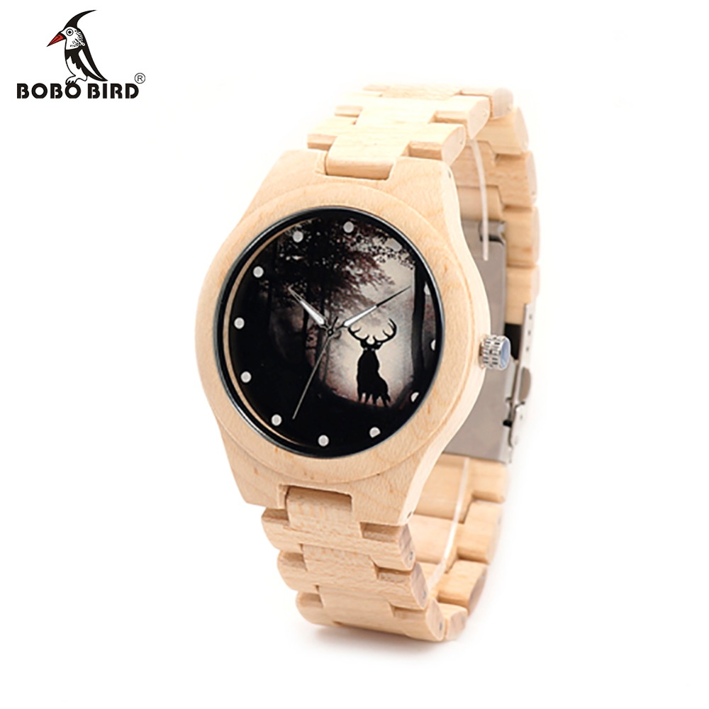 BOBO BIRD Game of Thrones Design Mens Watches Top Brand Luxury Wooden Watches Maple Wood Band Quartz Watch With Maple Strap