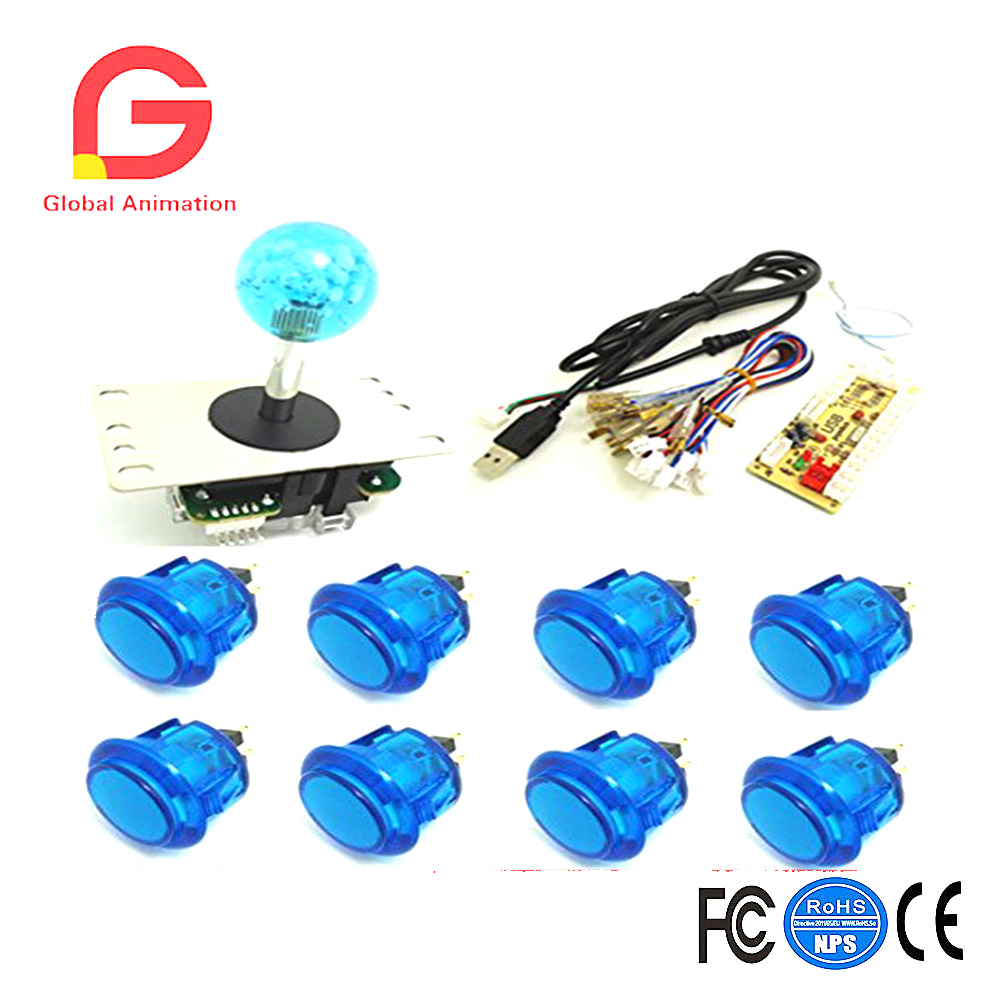 1 kit for PC controller with 35mm crystal top ball joystick and buttons USB to Jamma arcade games, Multicade Keyboard Encoder